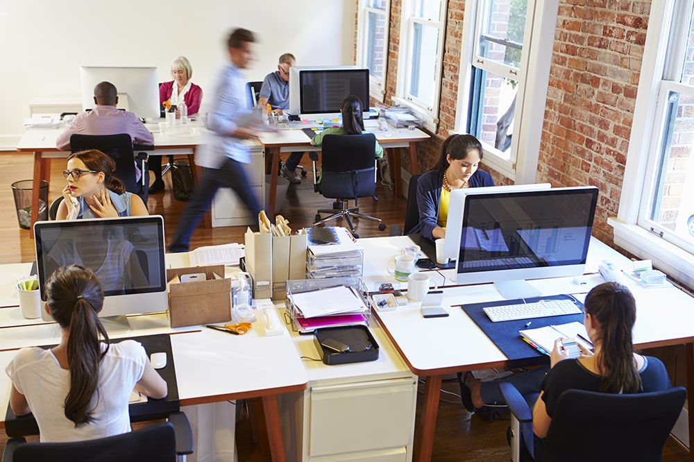 Busy office setting with employees at computers