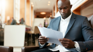 Man Reading a Contract